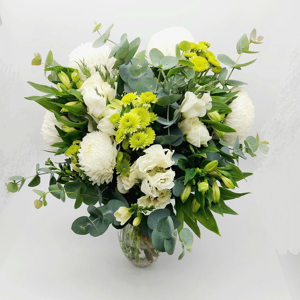 white and green vase